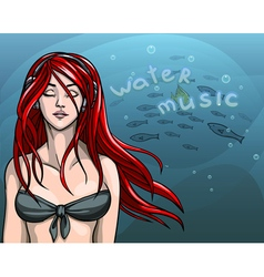 Beautiful girl in a bathing suit with red long vector