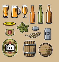 beer flat icons set bottle glass barrel vector image