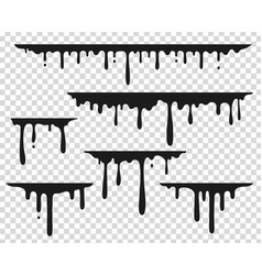 Black dripping stain liquid paint splash vector