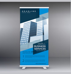 Blue display roll up banner design standee vector
