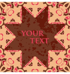 Broun star shaped blank frame for text oriental vector