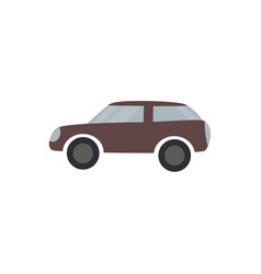 Brown passenger car - flat design of vehicle vector