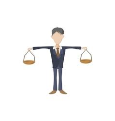 Businessman scale icon cartoon style vector image