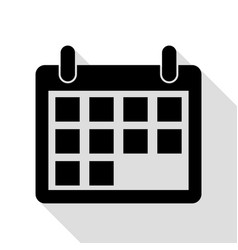 calendar sign black icon with flat vector image