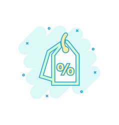 cartoon discount percent tag icon in comic style vector image