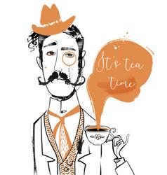 Cartoon gentleman with tea cup vector