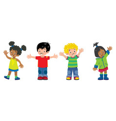 children set of 4 kids smiling boys and girls vector image