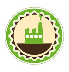 Circular emblem of factory and smoke contamination vector