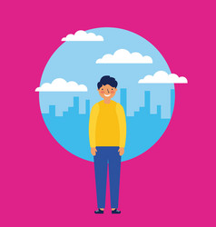 city kids outdoor vector image