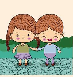 Color picture couple kawaii kids taken hands in vector