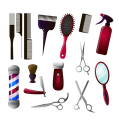 colored and isolated barber big icon set vector image