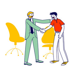 Confident businessman company boss shaking hand to vector