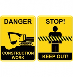 Construction work keep out signs vector