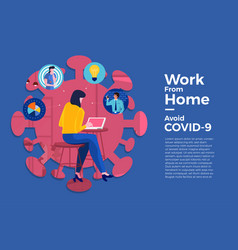 Covid-19 work from home 08 vector