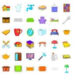 cozy house icons set cartoon style vector image