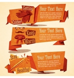 Cute autumn vintage stylized banners Icons of vector