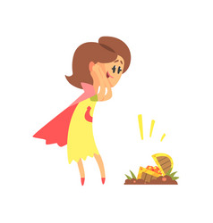 Cute cartoon woman found a treasure chest vector
