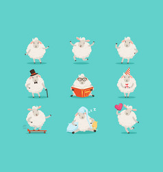 Cute little sheep cartoon characters set for label vector