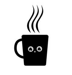 cute mug with owl eyes black icon vector image