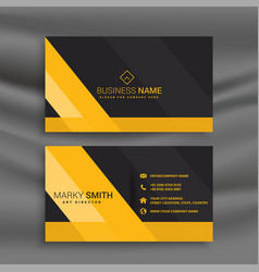 dark business card with yellow shapes vector image