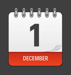 December 1 calendar daily icon vector