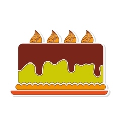 Delicious cake birthday card vector