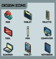 design color outline isometric icons vector image