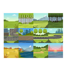 different natural summer landscapes set scenes of vector image