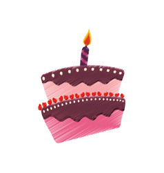 Drawing birthday cake candle celebration vector