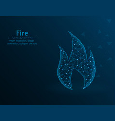 fire symbol gas polygon icon on blue background vector image