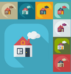 Flat concept set modern design with shadow house vector