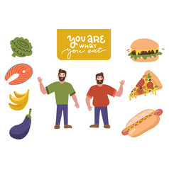 funny cartoon male characters set - eating junk vector image