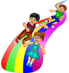 Funny kids sliding on rainbow cartoon vector