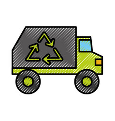 Garbage truck vehicle vector