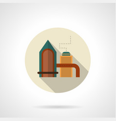Gas processing plant round icon vector