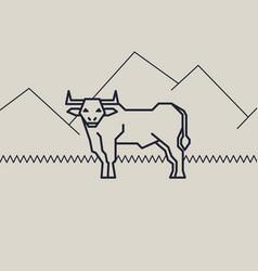geometric of a bull vector image