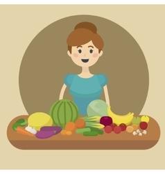 Girl and healthy food cartoon vector