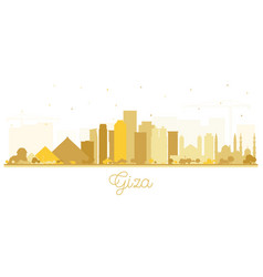 Giza egypt city skyline silhouette with golden vector