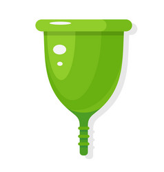 green protective menstrual cup flat icon feminine vector image
