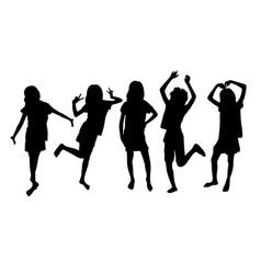 Happy girls silhouette vector