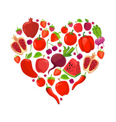 heart shape of red fruits and vegetables vector image
