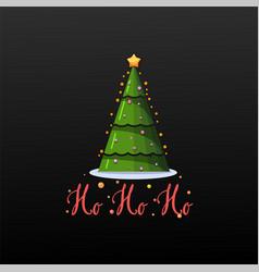 Ho ho ho festive banner christmas tree on a black vector