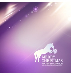 Horse for merry christmas greetings card vector image