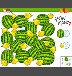 How many fruits educational counting game vector