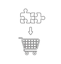 Icon concept two connected puzzle pieces vector