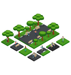 isometric park with people city park fresh air vector image