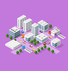 isometric set modern city vector image