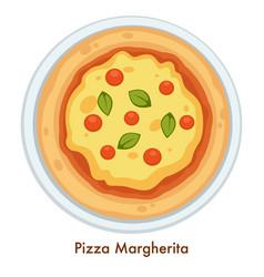 italian cuisine pizza margherita food italy vector image