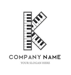K letter logo design piano keyboard logo vector