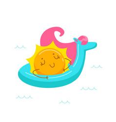 kawaii sun character floating on inflatable vector image